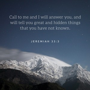 Call to me and I will answer you, and will tell you great and hidden things that you have not known.-2