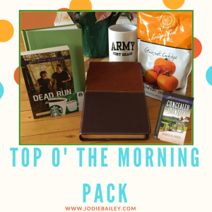 "Autographed Copies of Dead Run and Concealed Identity, a Holman Compact Large Print Bible, a Fort Bragg coffee mug, an official Army ""green book"" journal, pumpkin spice coffee, and a $10 SBUX gift card"